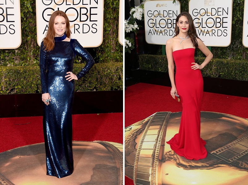 Julianne Moore și Emmy Rossum_Golden Globes 2016